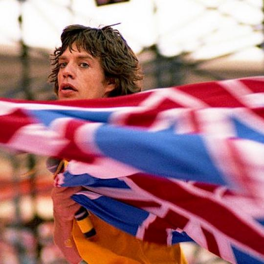 SAN FRANCISCO, CA - OCTOBER 18: Mick Jagger performs with The Rolling Stones in concert at Candlestick Park on October 18, 1981 in San Francisco, California. (Photo by Rocky Widner/FilmMagic)