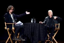 Chris Cornell and Jimmy Page onstage at the Ace Hotel in Los Angeles